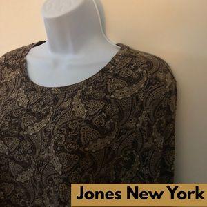 💖 Jones New York XL, Brown, Paisley Print, LS Tee
